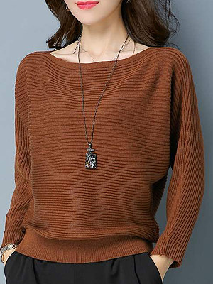 Elegant Plain Batwing Sleeve Long Sleeve Knit Pullover фото