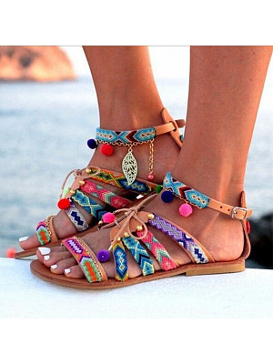 Bohemian Flat Ankle Strap Peep Toe Casual Outdoor Gladiator Sandals, 4803519, BERRYLOOK  - buy with discount