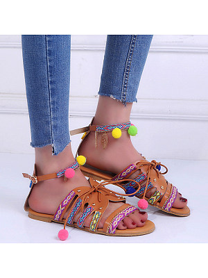 Bohemian Flat Ankle Strap Peep Toe Casual Outdoor Gladiator Sandals фото