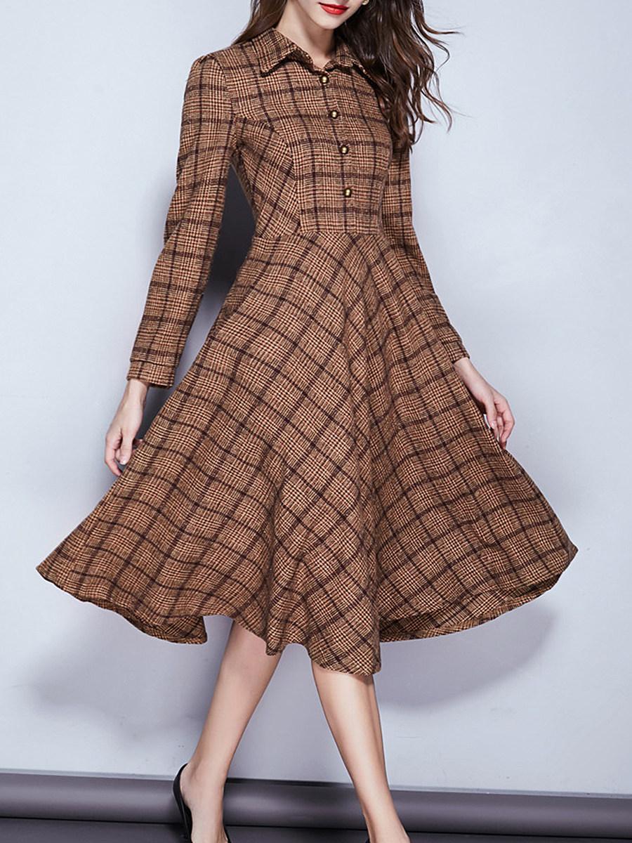 Fold-Over Collar Single Breasted Plaid Maxi Dress