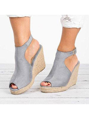 Plain Velvet Peep Toe Casual Date Wedge Sandals, 6931258