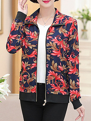 Fold-Over Collar Floral Printed Long Sleeve Jackets
