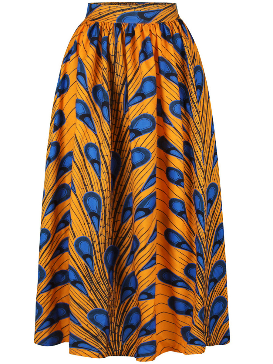 Attractive Printed Elastic Waist Flared Maxi Skirt
