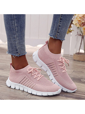 Plain Flat Round Toe Casual Travel Sneakers, 7244914