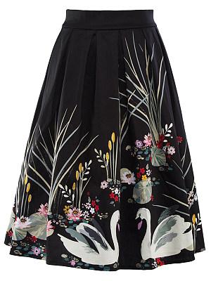 Inverted Pleat Printed Flared Midi Skirt, 3667806