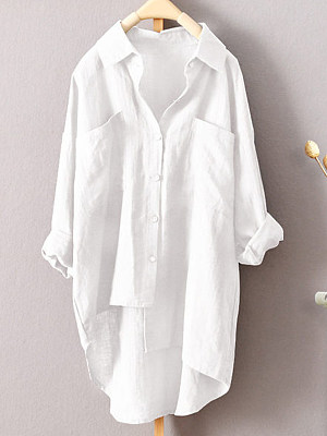 Turn Down Collar Loose Fitting Single Breasted Plain Blouses