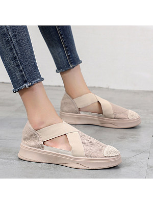 Flat Lace Plain Round Toe Casual Sneakers, 7498696