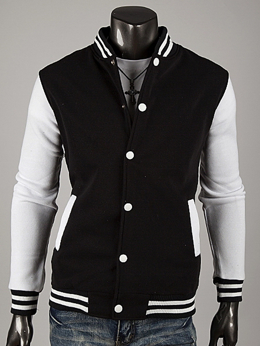 BerryLook Band Collar Striped Men Single Breasted Jacket