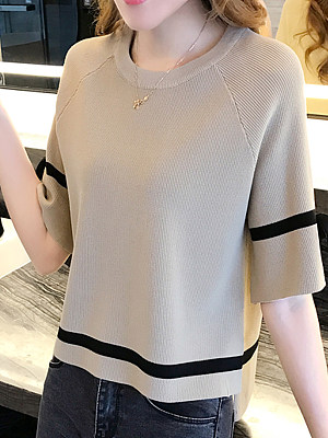 Round Neck Contrast Piping Plain Half Sleeve Sweaters Pullover, 5217972
