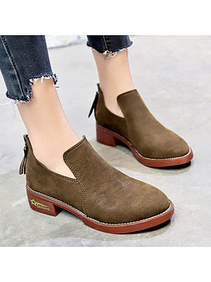 Plain Chunky Low Heeled Velvet Round Toe Outdoor Ankle Ankle Boots
