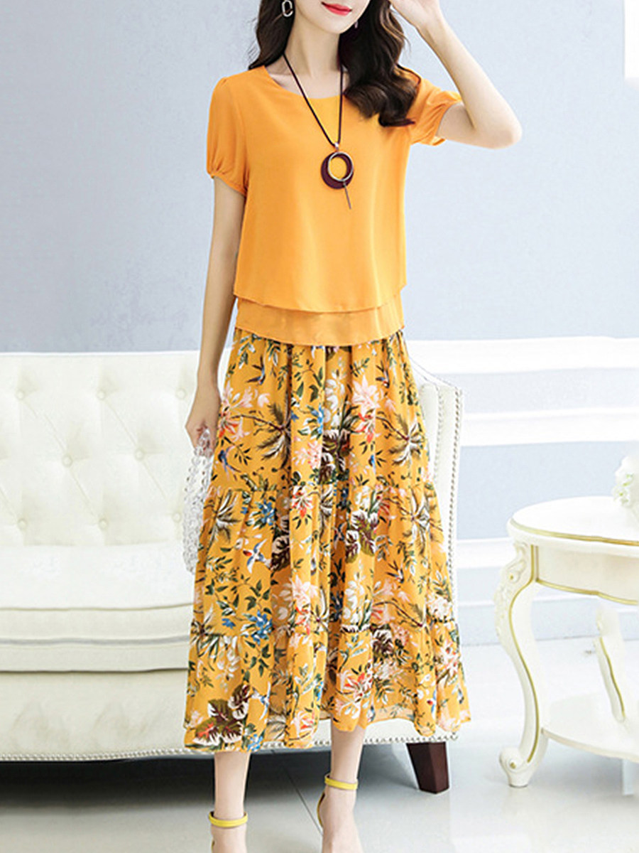 BerryLook Round Neck  Floral Printed Two-Piece Maxi Dress