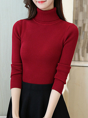 Turtle Neck  Patchwork  Plain Knit Pullover