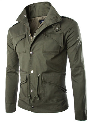 Men Lapel Flap Pocket  Plain  Drawstring Jacket