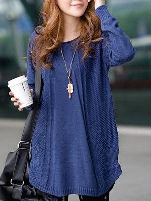 Loose Round Neck Embossed Plain Sweater