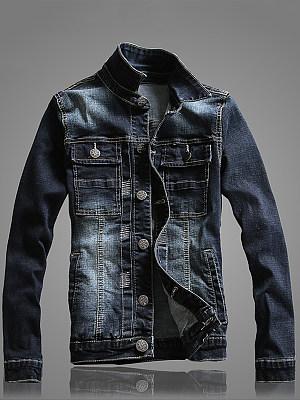 Denim Flap Pocket Ripped Light Wash Men Jacket