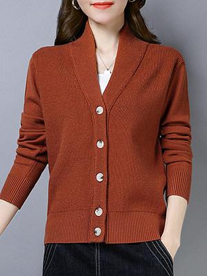 V Neck Patchwork Brief Plain Long Sleeve Knit Cardigan, 9126125