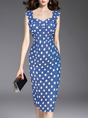 BERRYLOOK / V Neck  Polka Dot Bodycon Dress