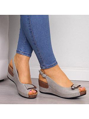 Plain High Heeled Peep Toe Date Travel Wedge Sandals, 7356266