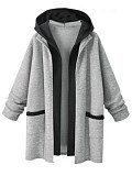 Image of Hooded Color Block Long Sleeve Trench Coats