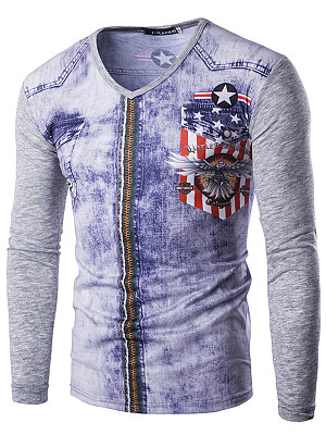 Men V-Neck Special Printed Long Sleeve T-Shirt