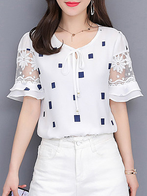 Round Neck Lace Up Patchwork Checkered Blouses