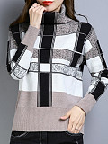 Heap Collar  Elegant  Plaid  Long Sleeve  Knit  Pullover