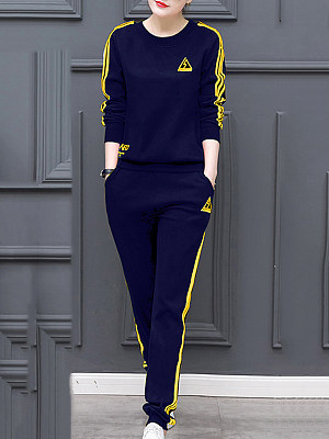 Round Neck Contrast Trim Sweatshirt Suit фото