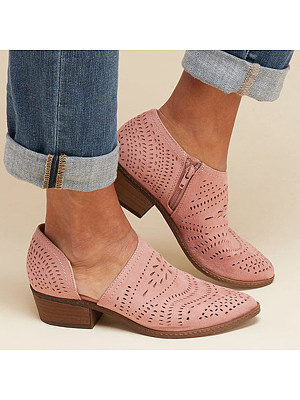 berrylook Hollow Out Plain Chunky Low Heeled Velvet Point Toe Date Outdoor Ankle Ankle Boots