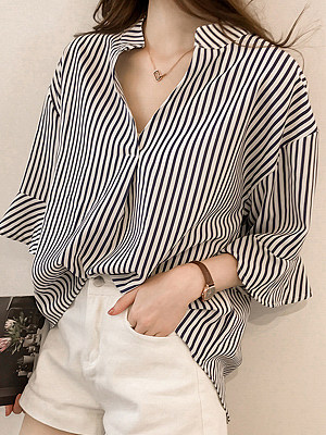 V Neck Stripes Bell Sleeve Blouses
