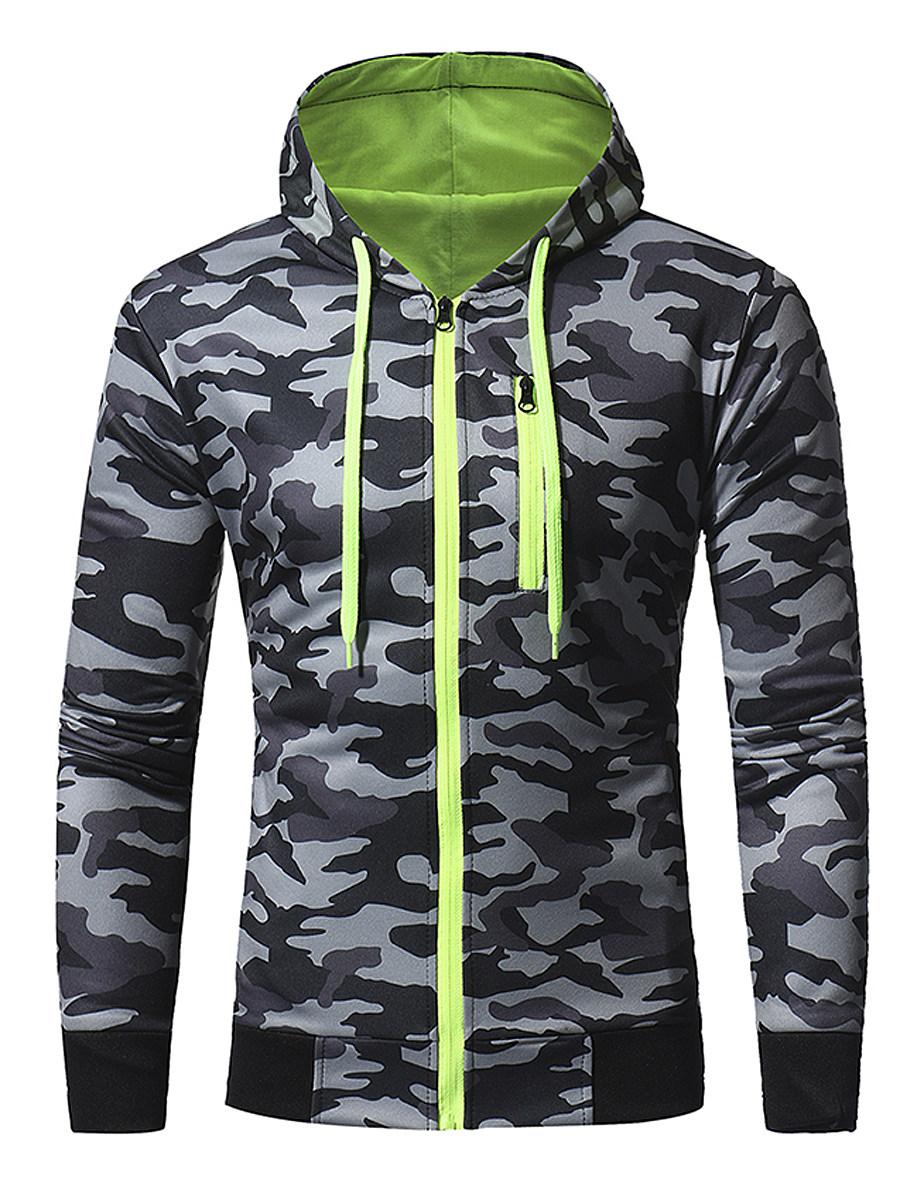 Camouflage Hooded Pocket Zips Men Coat