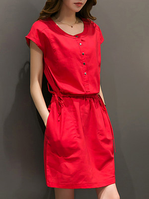 Round Neck Drawstring Patch Pocket Plain Shift Dress, 4555898