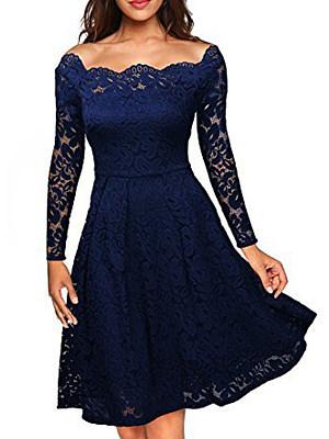 Open Shoulder  Lace Plain Skater Dress