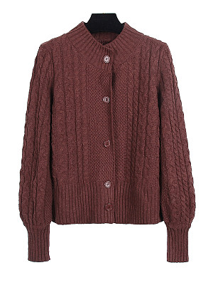 Round Neck Patchwork Casual Plain Puff Sleeve Long Sleeve Knit Cardigan, 9071528