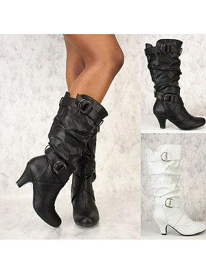 Plain High Heeled Round Toe Outdoor Knee High High Heels Boots фото