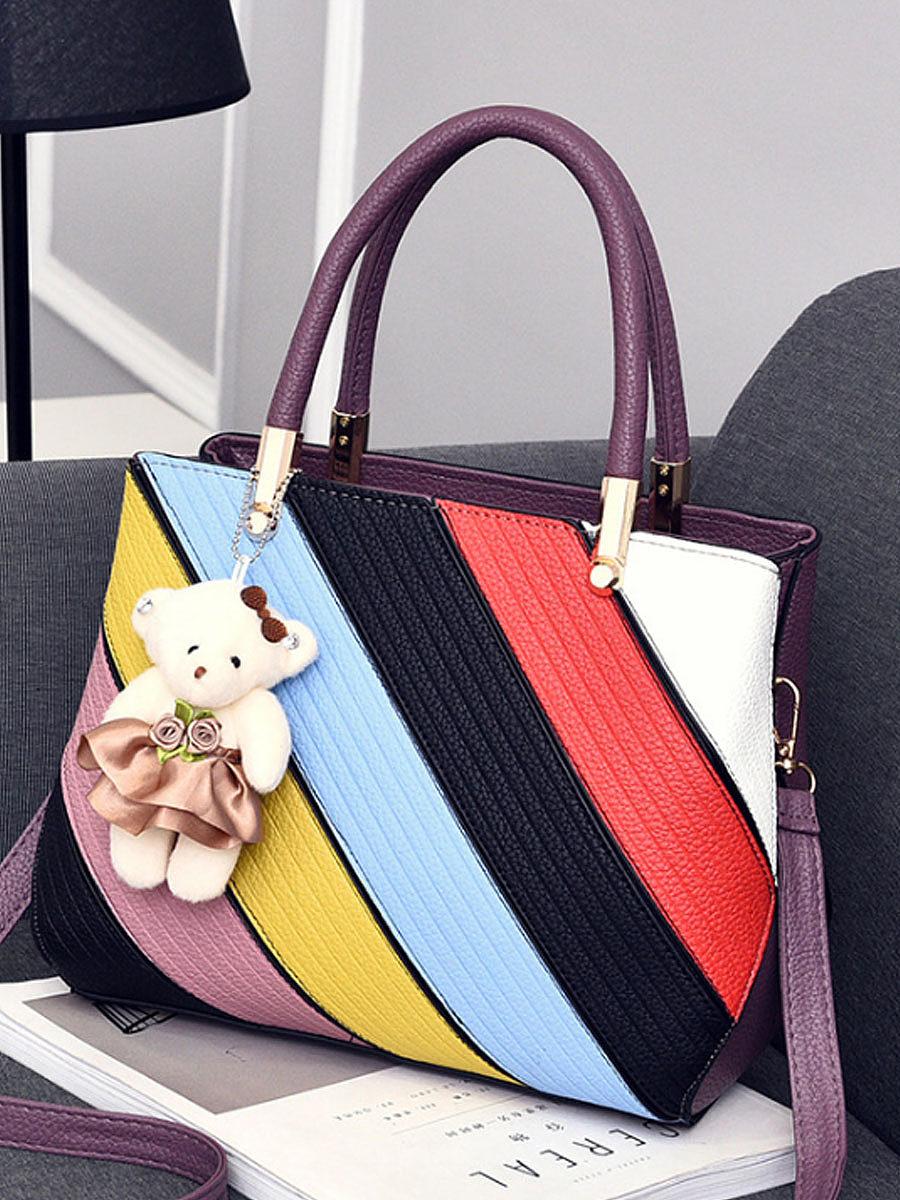 Color Block Striped Pu Shoulder Bag