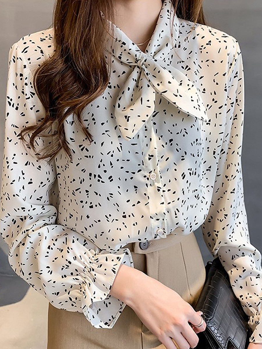 Bow Collar Patchwork Print Blouses