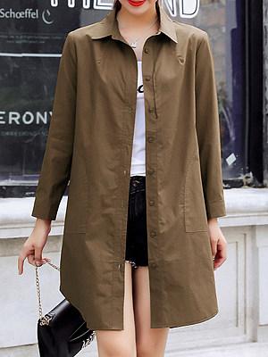Turn Down Collar  Asymmetric Hem  Plain Trench Coat