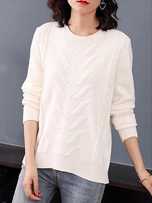 Round Neck Patchwork Elegant Plain Long Sleeve Knit Pullover, 9479398