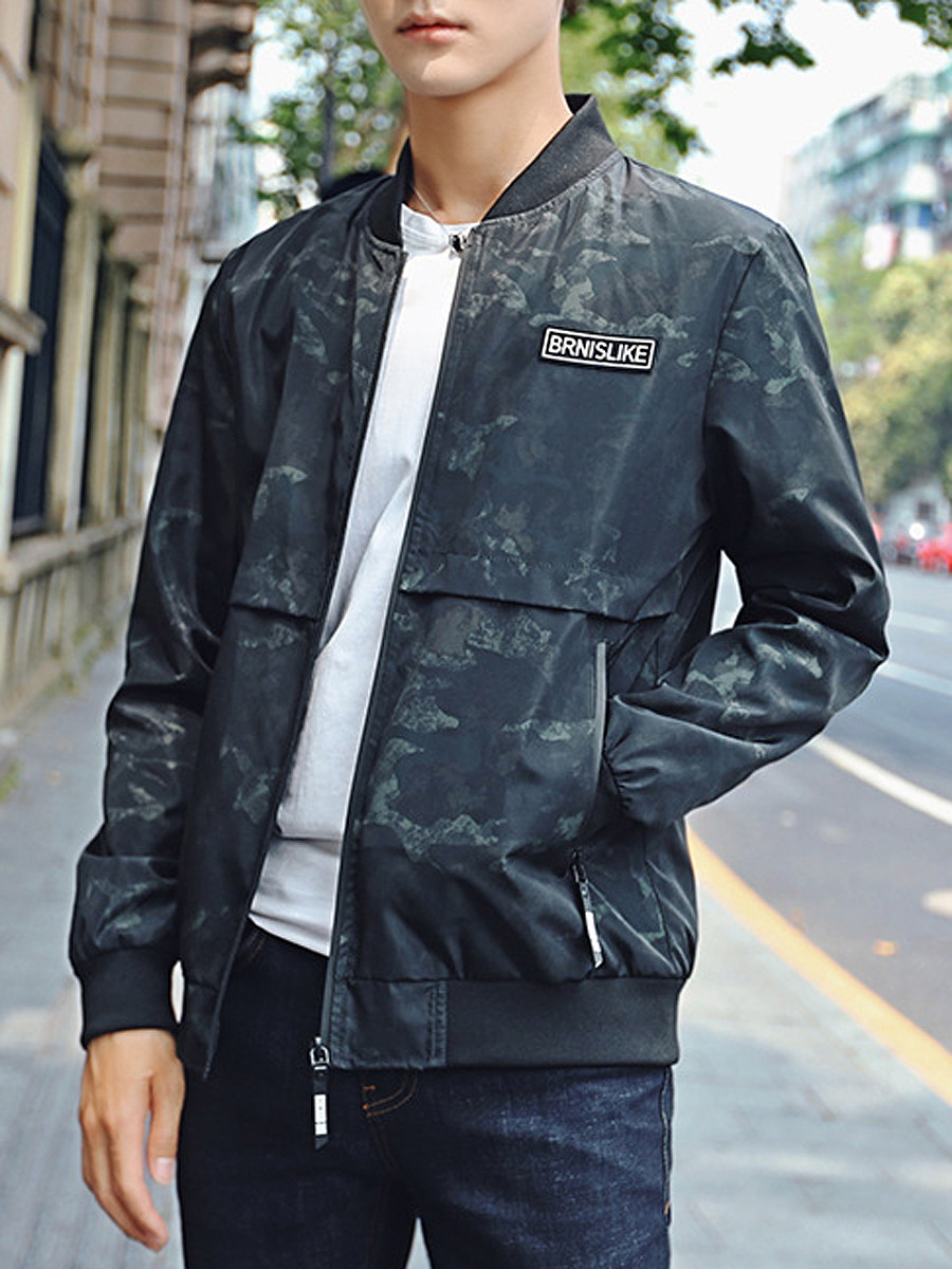 Band Collar Camouflage Pocket Men Jacket