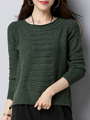 Round  Neck  Cute  Plain  Long Sleeve  Knit Pullover