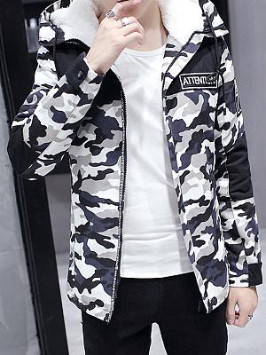 Hooded Camouflage Fleece Lined Men Coat