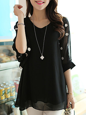 V Neck  Patchwork  Embroidery Patchwork  Batwing Sleeve Blouses