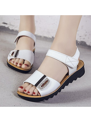 Plain Low Heeled Ankle Strap Peep Toe Casual Date Wedge Sandals