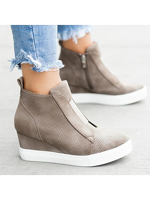 Plain Round Toe Casual Travel Sneakers, 8080769