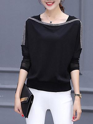 Glitter  Color Block Long Sleeve T-Shirts