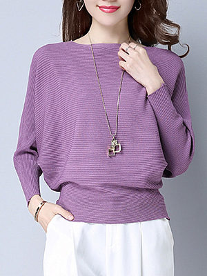 Plain Batwing Sleeve Pullover фото
