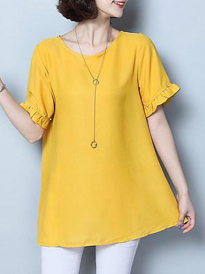 Round Neck Patchwork Elegant Plain Short Sleeve T-Shirt, 8353219