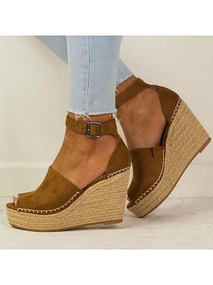 Plain Velvet Ankle Strap Peep Toe Wedge Sandals фото