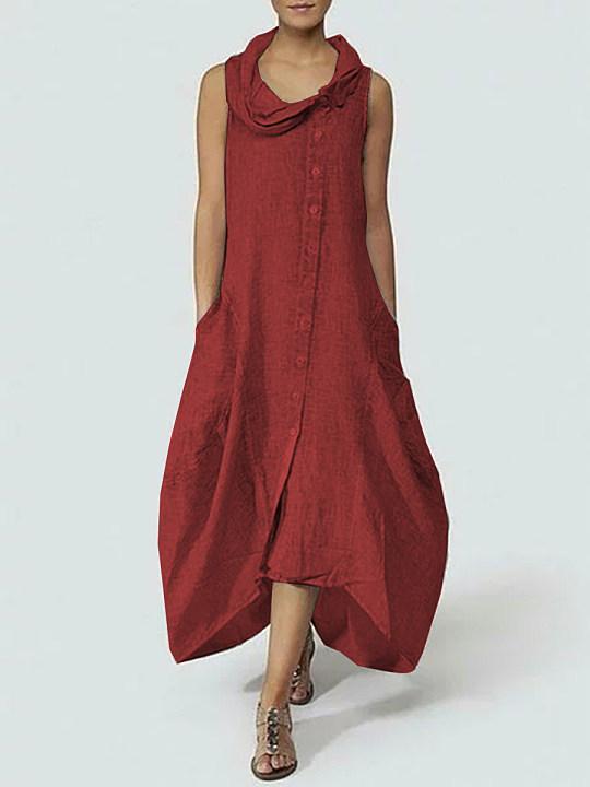 b4c2315318b Cowl Neck Single Breasted Plain Maxi Dress - berrylook.com