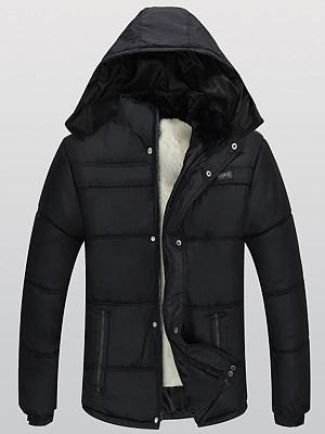Men Hooded Fleece Lined Quilted Plain Coat